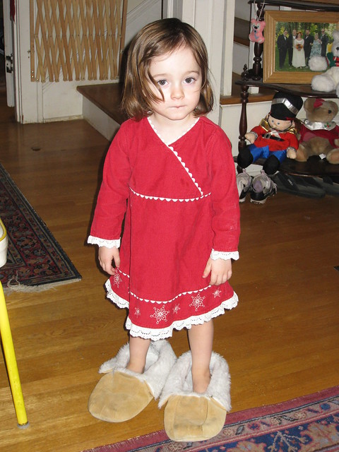 Zoe in Grandpa's slippers