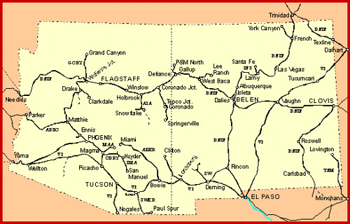 Map Of Arizona Railroads.New Mexico Arizona Up Bnsf Route Maps Ho Scale Model Railroad