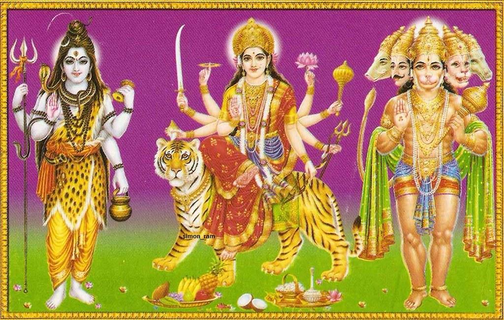 Shiva, Amba Maa and Hanuman