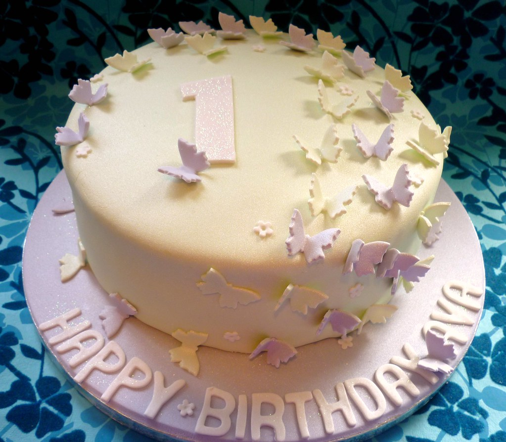 Fantastic Butterfly 1St Birthday Cake This Was A Lovely Cake For A 1 Flickr Funny Birthday Cards Online Aeocydamsfinfo