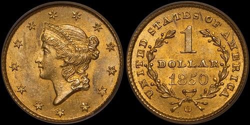 1850-O Gold $1.00 PCGS MS63 | by RareGoldCoins.com