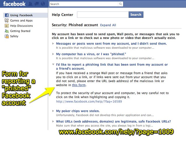 Facebook | Help Center - Form for reporting a phished acco