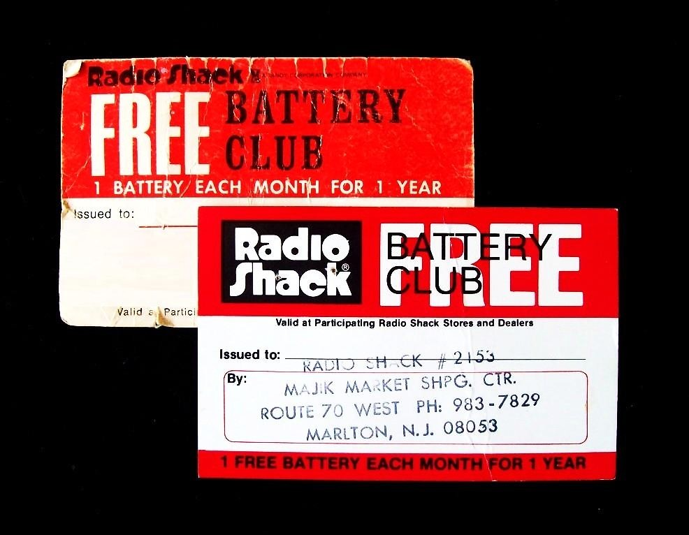 Radio Shack Battery Club Cards | Radio Shack Free Battery Cl… | Flickr