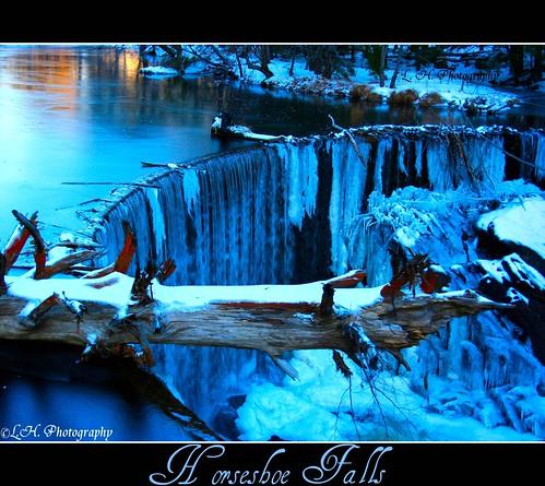 blue winter sunset orange white snow tree ice nature yellow frozen waterfall scenic newengland limb horseshoefalls