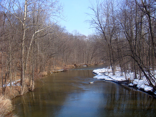 park winter snow water river march stream michigan thaw raytownship wolcottmillmetropark