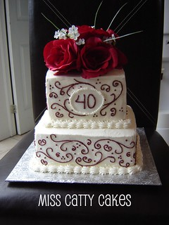 40th Wedding Anniversary Cake | by Miss Catty Cakes Cake Design