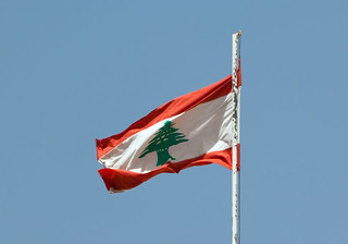 Lebanese flag floating | by Eusebius@Commons