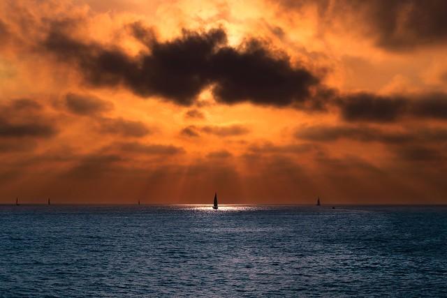 Sailbots at sunset -Tel-Aviv beach