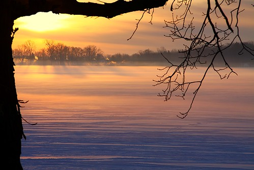 winter sun lake snow ice clouds sunrise michigan the4elements platinumheartaward