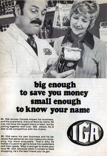 Vintage Ad #1,055: IGA is big enough to save you money, small enough to know your name   by jbcurio