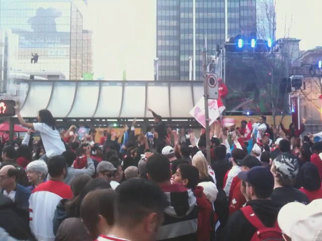 Drum celebration on Robson and Howe