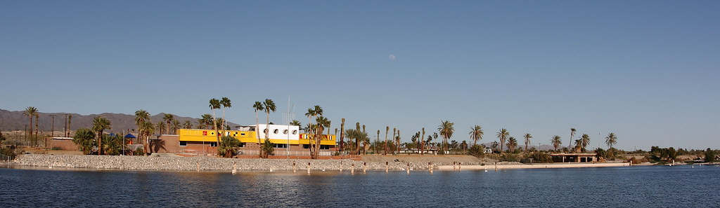 North Shore Beach & Yacht Club at the Salton Sea has been restored to its former glory. Panorama.