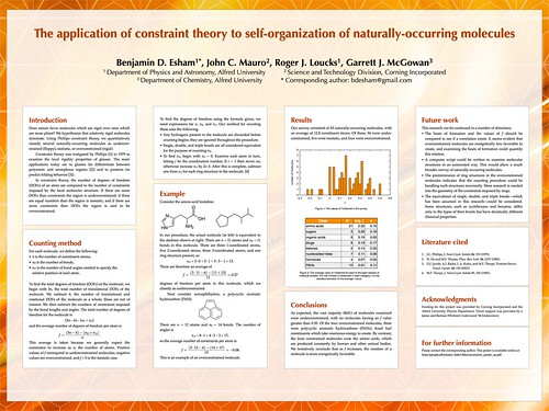 The application of constraint theory to self-organization of naturally-occurring molecules