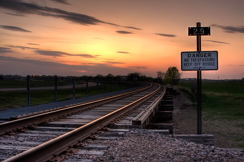 railroad sunset sign danger southdakota hdr siouxfalls leadinglines