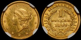 "1849-C ""Closed Wreath"" Gold $1.00 NGC MS64+ CAC | by RareGoldCoins.com"