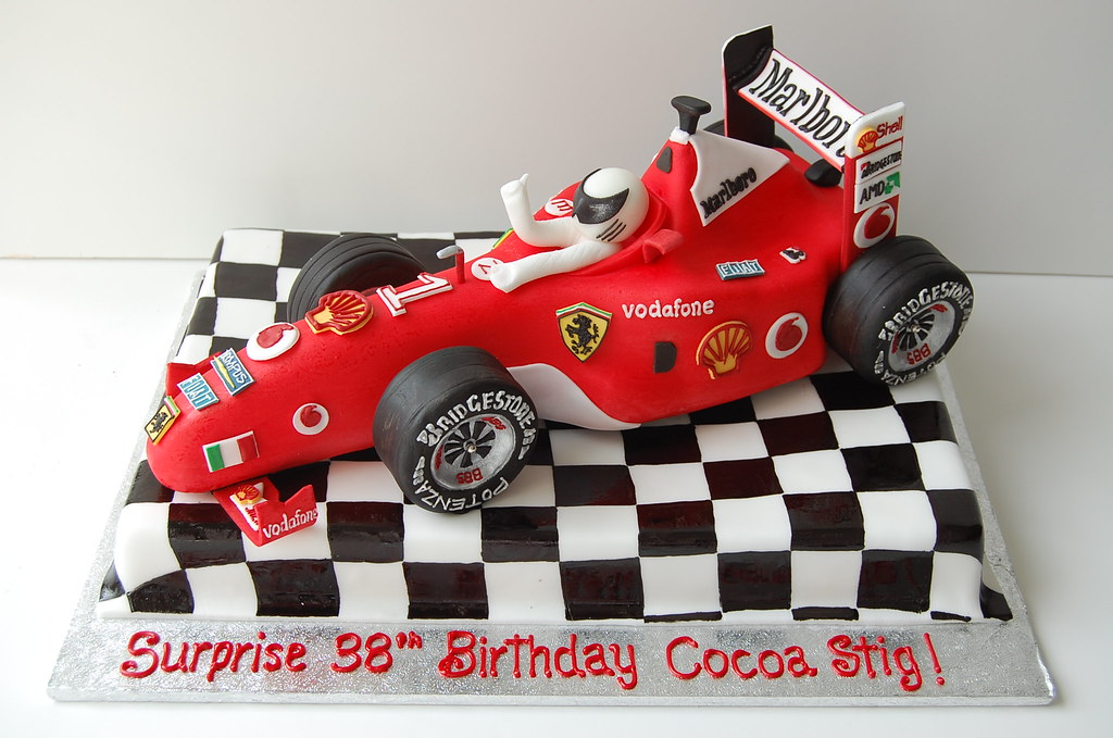 Outstanding Ferrari F1 Race Car Birthday Cake Front Rather Than Cutt Flickr Funny Birthday Cards Online Elaedamsfinfo