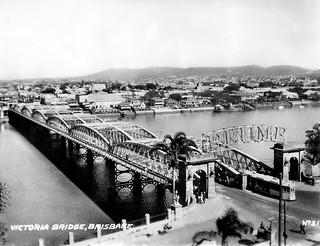 14 Jul 1943 - Rare Real Photo Card - Circa 1930s - No. 21 - Victoria Bridge, Brisbane, Queensland, Australia