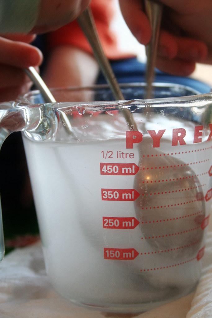 3 stir   making super saturated salt solution...poured it ...