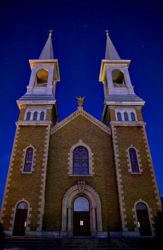 sky ontario church parish architecture night rural stars french evening catholic nighttime
