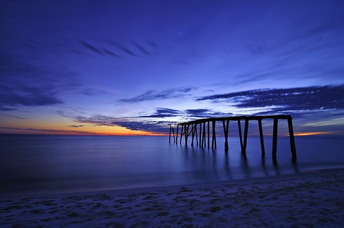 ocean longexposure blue sunset sky beach gulfofmexico nature water clouds landscape star evening coast pier nikon florida dusk indigo shore flickrversary coastline fl bluehour 2010 d300 catchycolorsblue superaplus aplusphoto flickrdiamond tokina1116