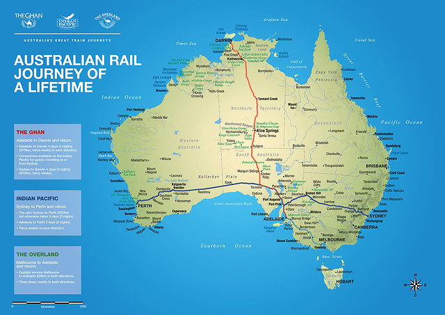 Map of the Australian luxury train routes | This map shows t
