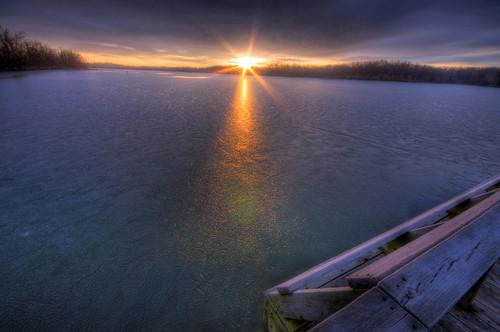 lake sunrise frozen arkansas hdr fayetteville