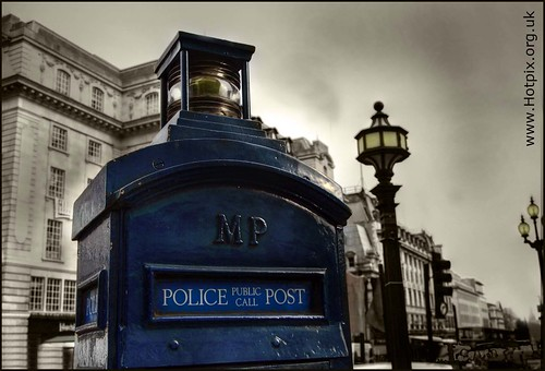 Blue Police Public Call Post, London Piccadilly Circus   by @HotpixUK -Add Me On Ipernity 500px
