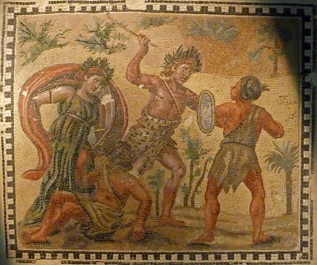 Lluita de Bacus i els indis, mosaic de la Villa della Rufinella, s. IV d.C., Museo Nazionale Romano (Palazzo Massimo alle Terme), Roma