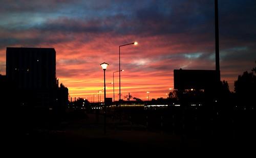 sunset red sky metro warsaw warszawa niebo mlociny młociny