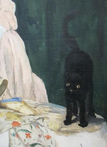 Détail du chat dans Olympia de Manet.