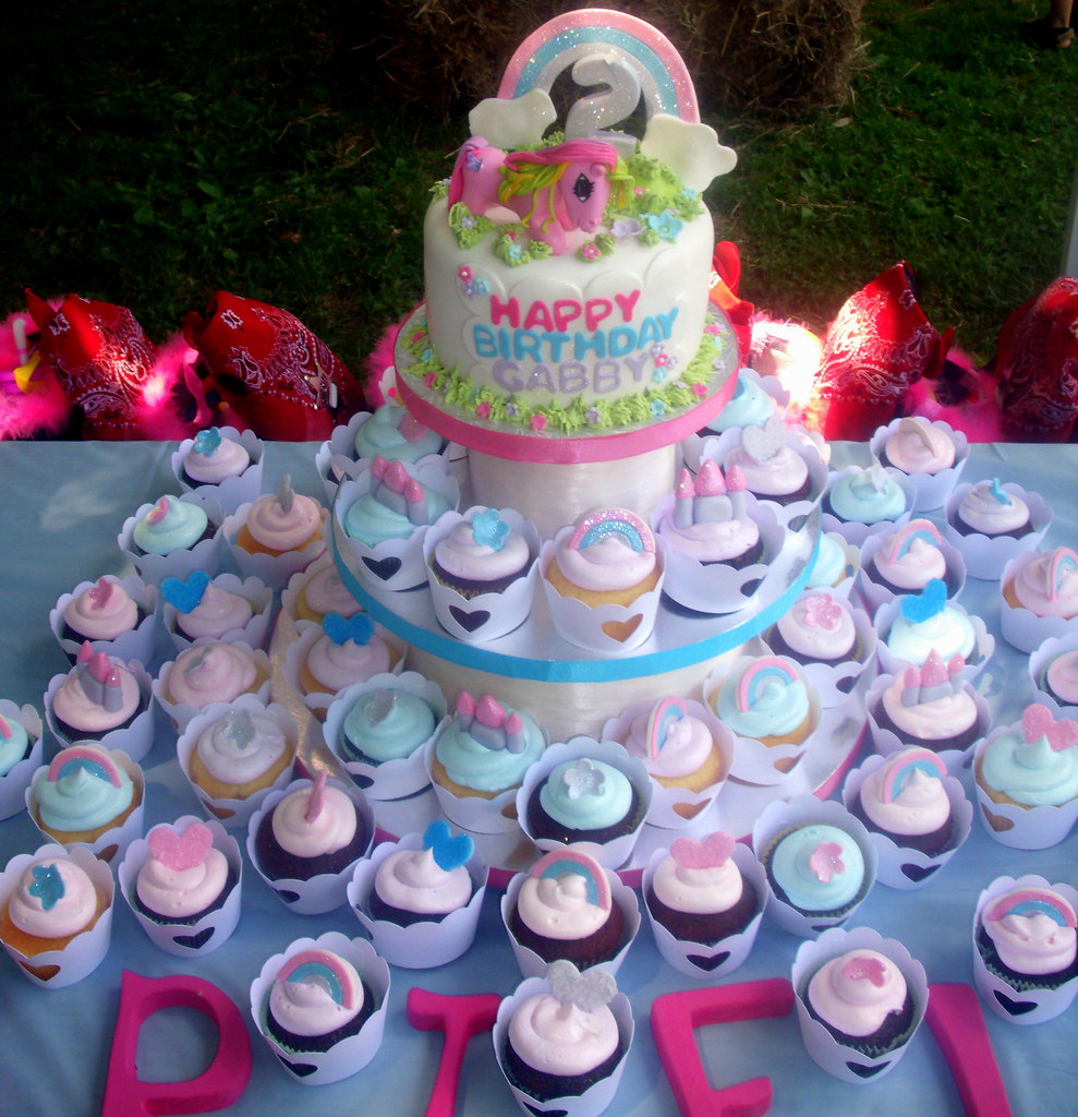 Pleasant My Little Pony 2Nd Birthday Cake And Cupcake Tower Flickr Funny Birthday Cards Online Fluifree Goldxyz