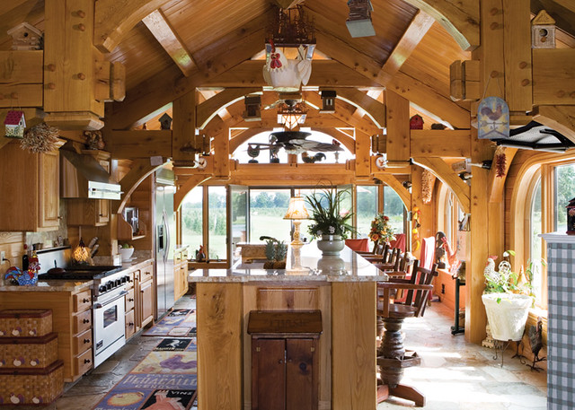 Ultimate Getaway Home Timber Frame Home - Kitchen | This tim ...