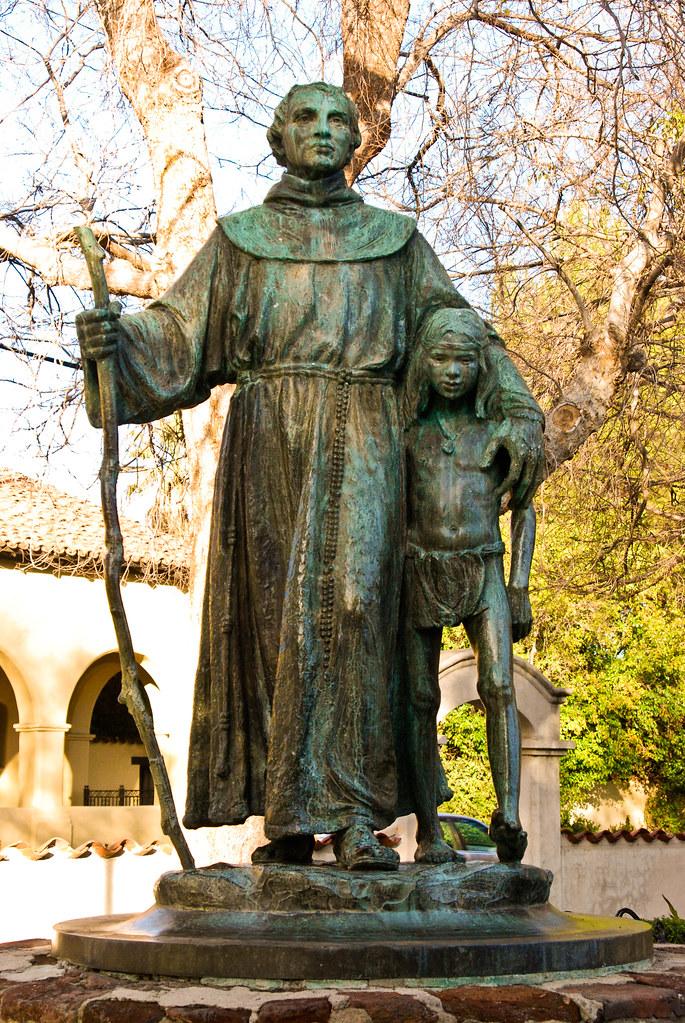 Father Junipero Serra & Indian Boy - Statue in the Garden