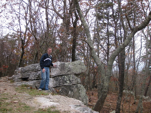 Me standing next to the summit bolder of Cheaha Mountain.