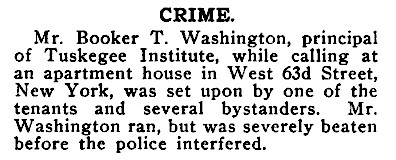 Booker T Washington Attacked by New York Apartment Dwellers - Crisis Magazine, April, 1911