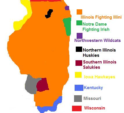 Illinois College Sports Map | My experience of where fans of ...