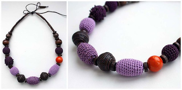 Crocheted necklace with major orange bead