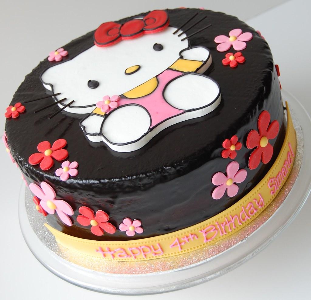 Sensational Simones Hello Kitty Birthday Cake Front Chocolate Cake Flickr Funny Birthday Cards Online Overcheapnameinfo