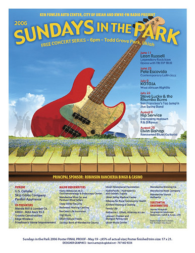 Poster for Ukiah Sundays in the Park (Bass Illustration) | by marccarson