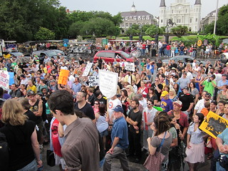 NOLA BP Oil Flood Protest crowd 6