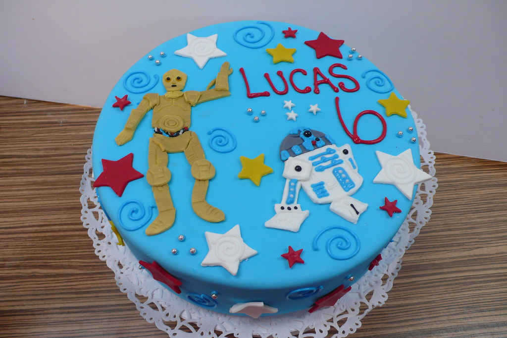 Astounding Star Wars Birthday Cake Star Wars Birthday Cake With 3Cpo Flickr Personalised Birthday Cards Paralily Jamesorg