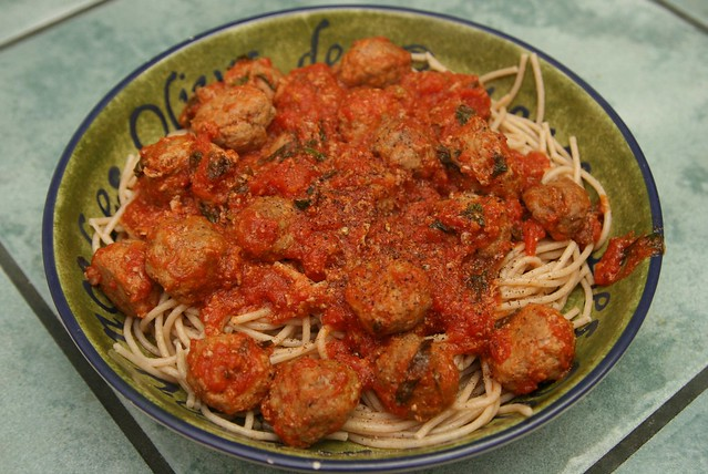 Organic whole wheat pasta with homemade meatballs in tomato sauce
