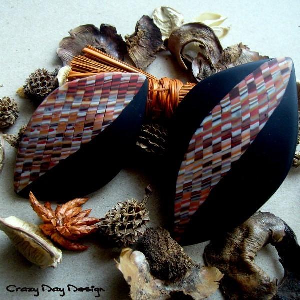 Zig zag red/orange barrette and brooch