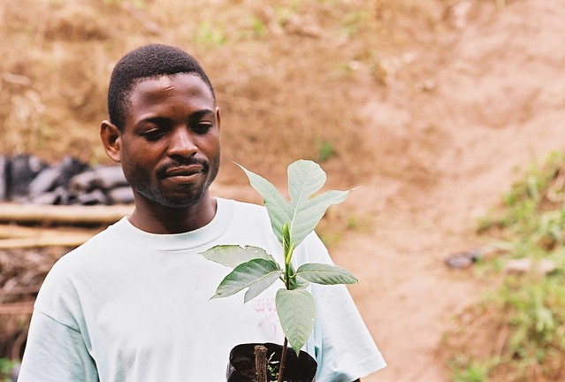 Christophe with a young Bread Fruit plant