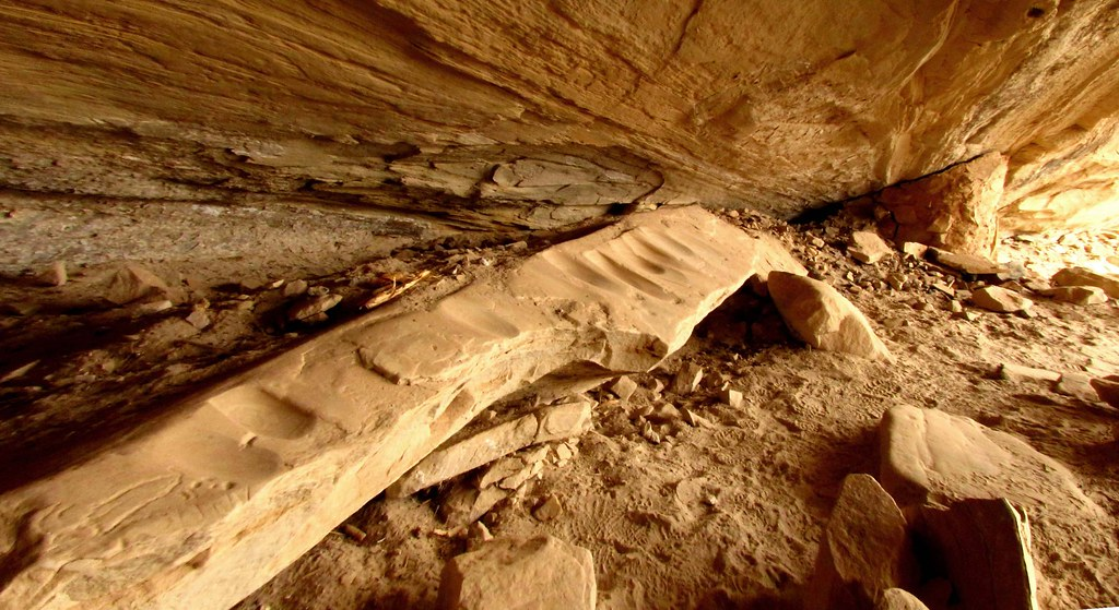 Ancient Grinding Stone in Cave by Red Dirt Dawg
