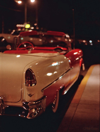red white chevrolet belair film car interesting nightshot bokeh 55chevy comegowithme delvikings1957
