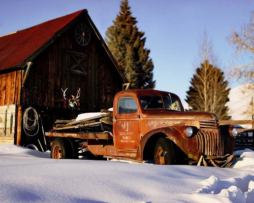 winter sunset snow truck idaho chevy