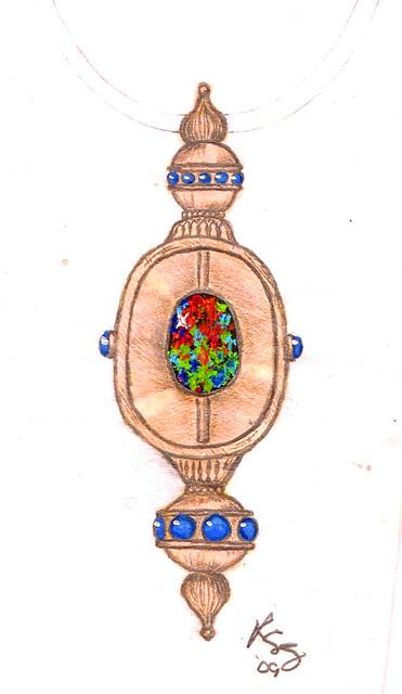 Design Sketch / Rendering for Black Opal Necklace / 2