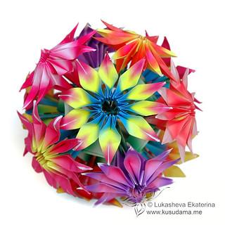 Step by Step Kusadama Flower Origami DIY Tutorial | Paper flower ... | 320x320