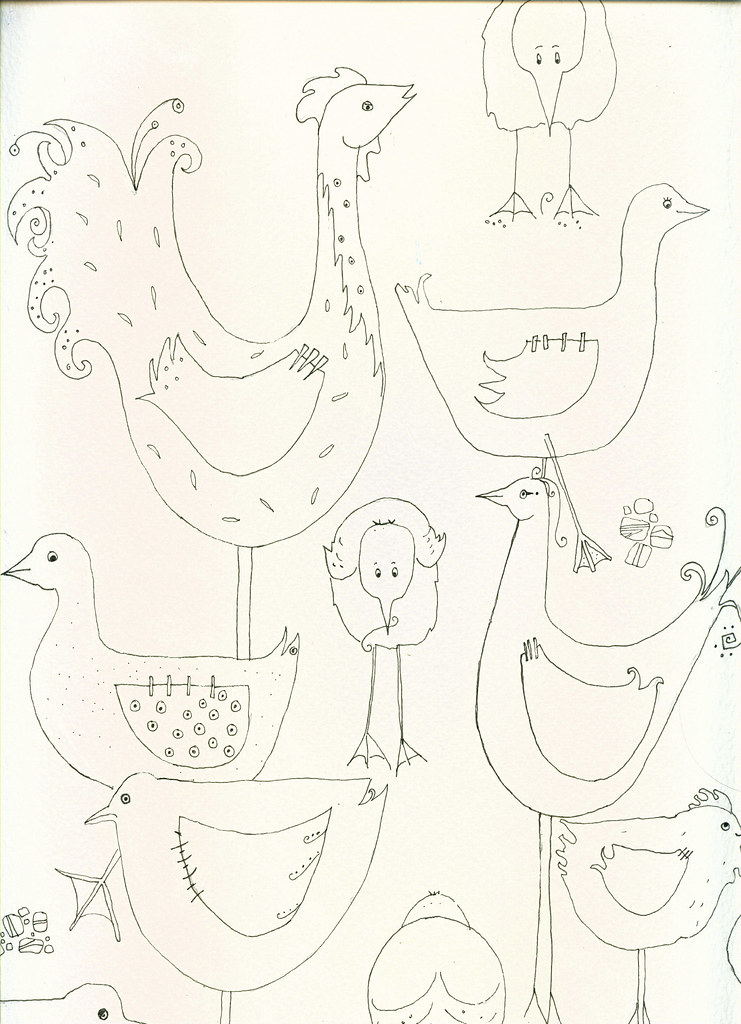 birds line drawing examples | working on illustrations    ea